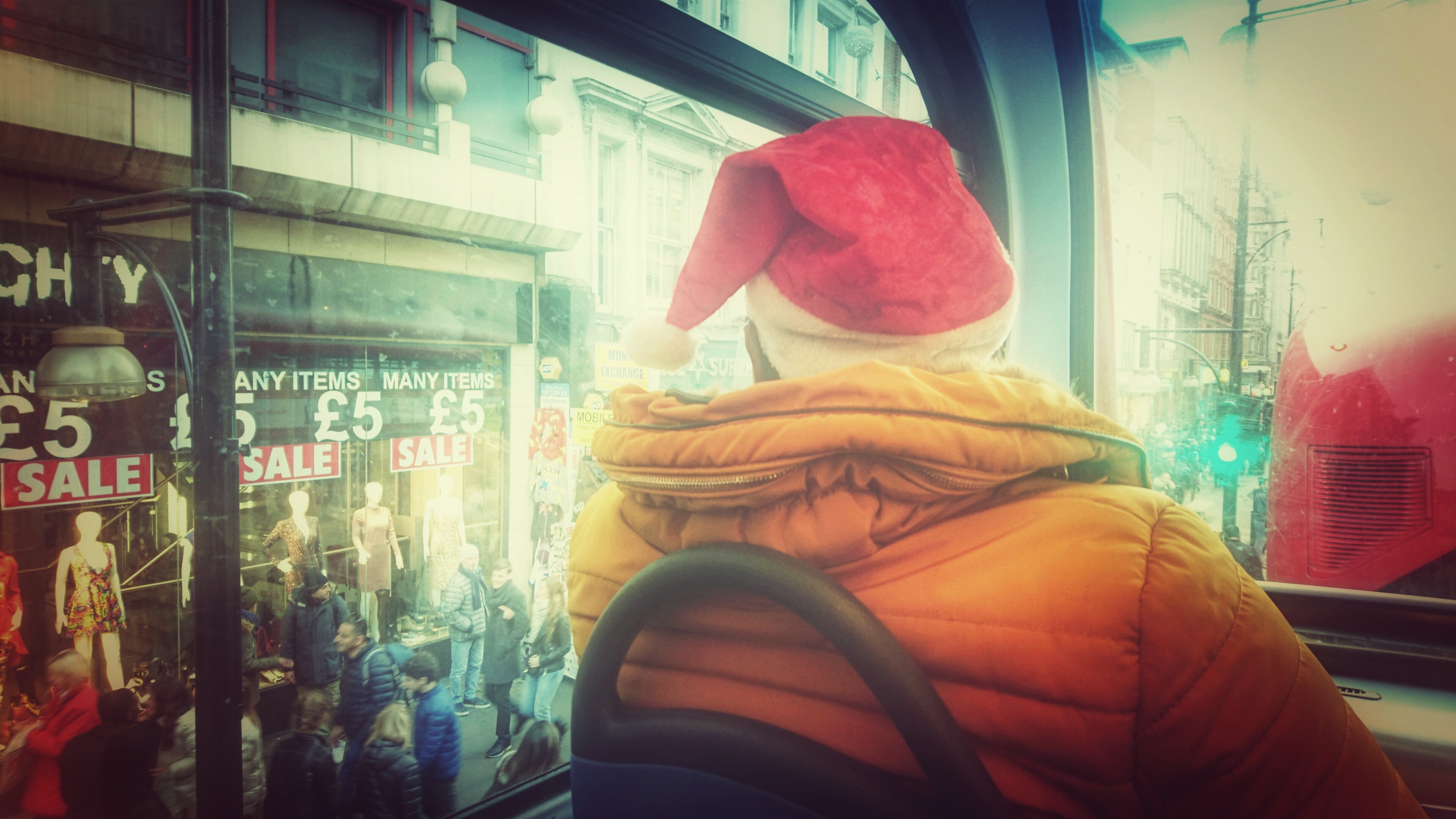 Dreaming of a White Christmas: Im Bus in London. Foto: jag, 2016.